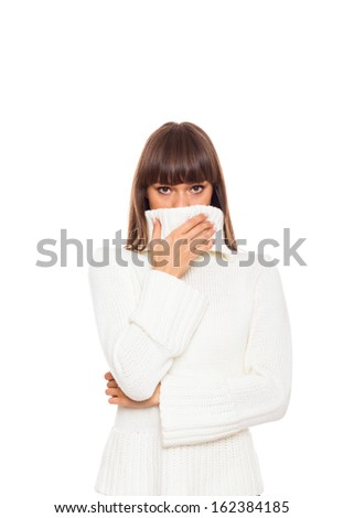 sick woman sneezing got flu or cold, cover mouth by hand, wear warm ...
