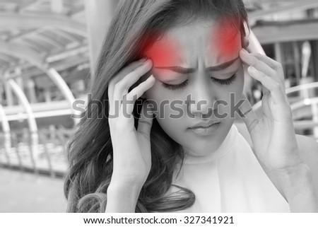 sick woman suffers from headache, migraine, hangover, stress - stock photo