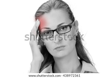 Sick woman with headache, migraine, stress, negative feeling, white isolated background