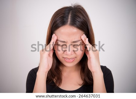 sick woman with pain, headache, migraine, stress, insomnia, hangover - stock photo