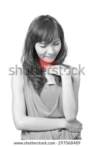 sick woman with sore throat - stock photo