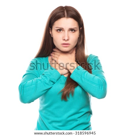 sick woman with sore throat, inflammation with blank area for text or copy space - stock photo