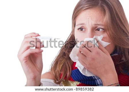 Sick Woman with Thermometer - stock photo