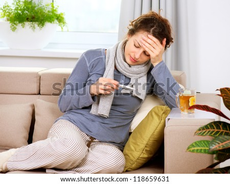 Sick Woman with Thermometer.Headache. Flu.Woman Caught Cold. Virus - stock photo