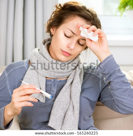 Sick Woman with Thermometer. Headache. Flu. Woman Caught Cold. Virus or Allergy - stock photo