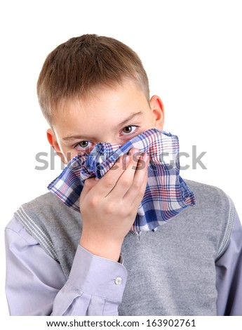 Sick Young Boy Isolated on the White Background - stock photo