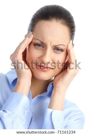Sick young woman. Allergy. Migraine - stock photo