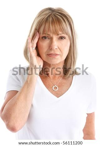 Sick young woman. Head ache. Migraine - stock photo