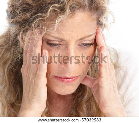 Sick young woman. Head ache. Migraine - stock photo
