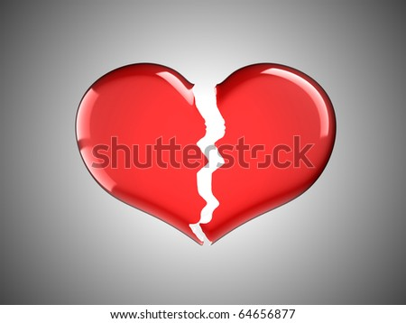Sickness and pain. Red Broken Heart over grey background - stock photo