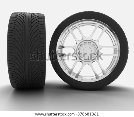 Side and front view of an automobile wheel. 3d render illustration on white background  - stock photo