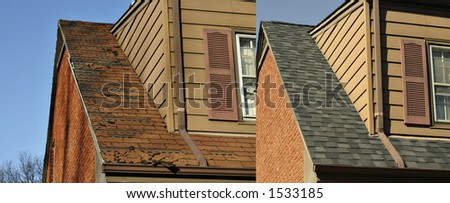 Side by side comparison of before and after roofing job - stock photo