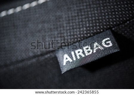 Side Car Airbag Tag. Modern Car Safety Feature. Transportation Technologies. - stock photo