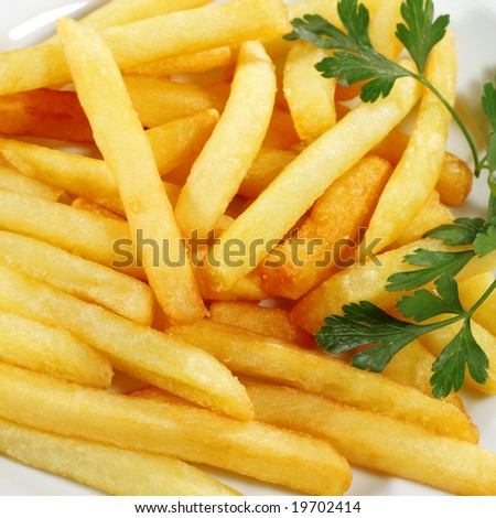 Side Dish French Fries Served with Parsley - stock photo