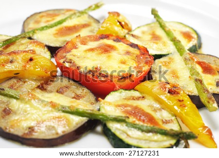 "Side Dishes - Grilled Vegetables under ""Sabayon"" Sauce with Fried Green Asparagus - stock photo"