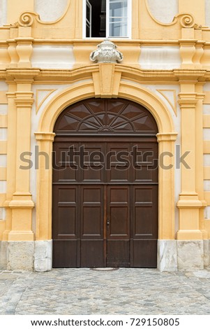 Side door in the prelate's courtyard in the Melk Abbey. This is a Benedictine abbey above the town of Melk, Lower Austria.