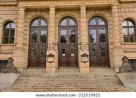 Side entrance of the Rudolfinum Concert Hall. Rudolfinum  is a music auditorium and home of the Czech Philharmonic Orchestra in Prague