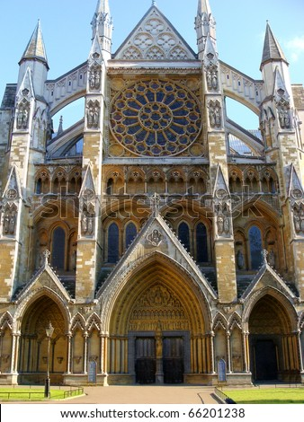 Side entrance to Westminster Abbey, London, England - stock photo