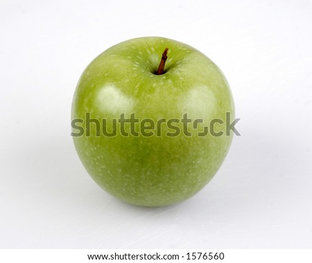 Side Green Apple Granny Smith - stock photo