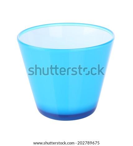 Side of blue plastic jar opened on white background. - stock photo