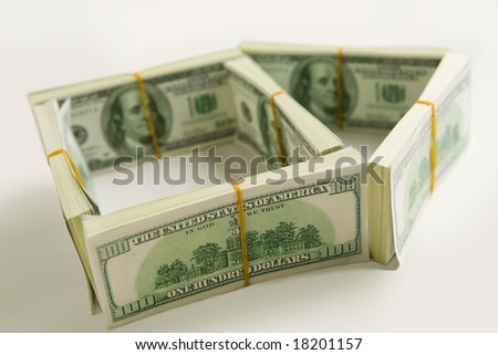 Side of green house constructed of bucks isolated at white background