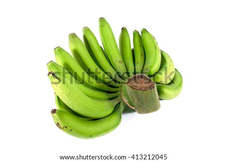 Side of green raw bananas isolated on white background - stock photo
