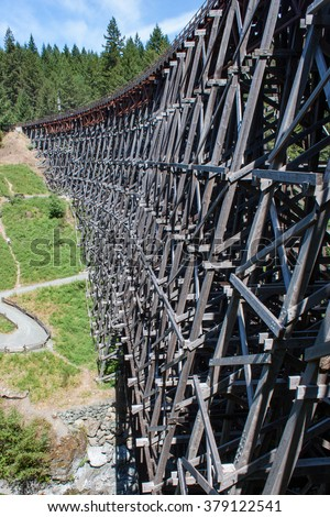Side of Historic Wooden Railway Trestle Bridge - stock photo