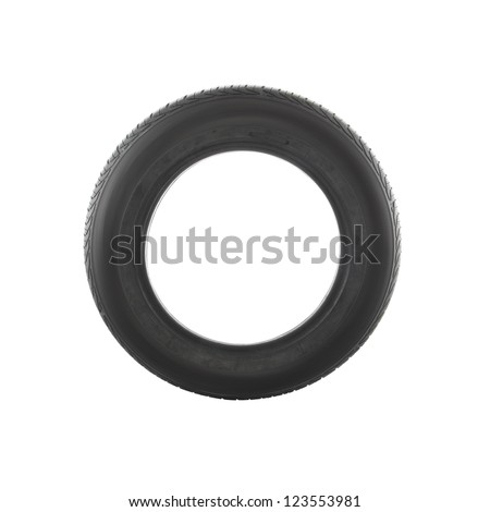 Side of old car tire on white background.