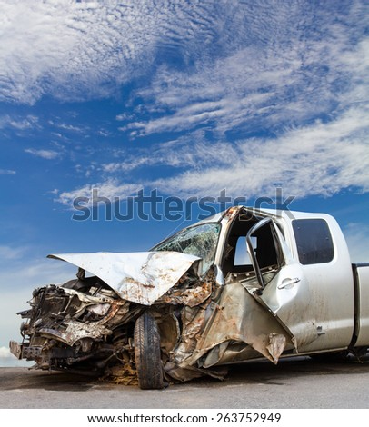 Side of the car color Bourne demolished Cloudy sky was the scene of the accident. - stock photo