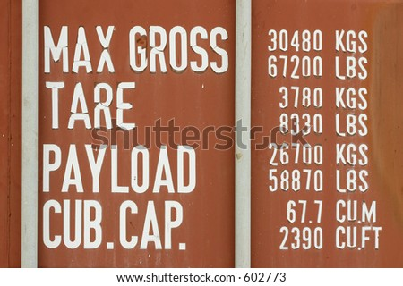 Side on metal cargo container - stock photo