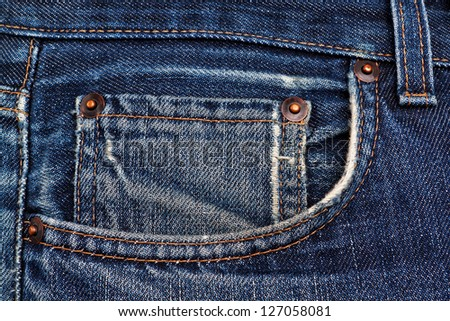 Side pocket classic jeans. Closeup. - stock photo