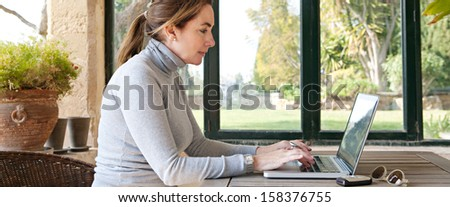Side portrait view of a smart professional woman typing on her laptop computer, sitting at a wooden table near large glass window and a green garden during a sunny day, interior. - stock photo