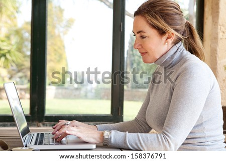Side portrait view of a smiling professional woman typing on her laptop computer, sitting at a wooden table near large glass window and a green garden during a sunny day, interior. - stock photo