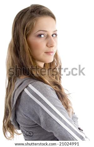 side pose of female looking at camera on an isolated white background - stock photo