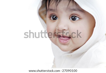 side pose portrait of baby - stock photo