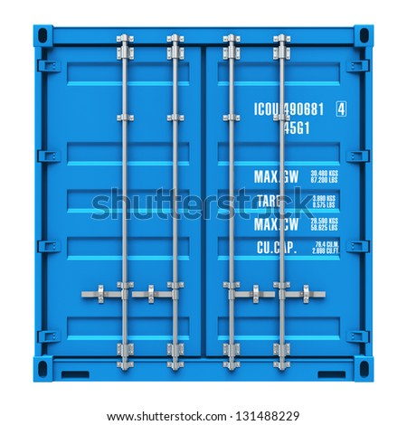 Side profile view of blue cargo freight container isolated on white background - stock photo