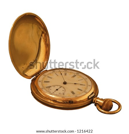 Side Shot of an Antique Pocket Watch from 1895. - stock photo