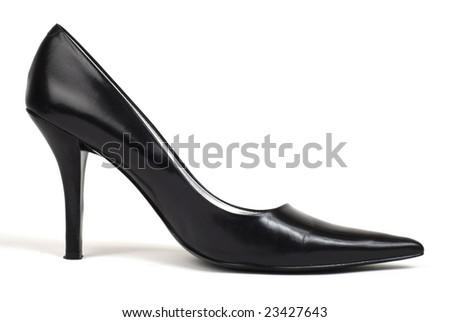 Side shot of one black women's high-heel dress shoe against white background - stock photo