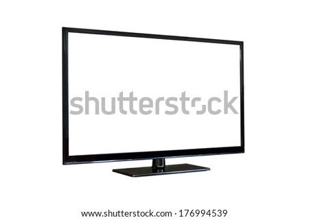 Side shot of plasma tv screen isolated on white background - stock photo