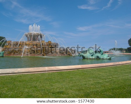 Side shot of the Millennium Fountain Chicago - stock photo