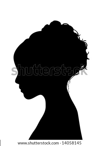side silhouette profile of young woman with elegant hairstyle - stock photo