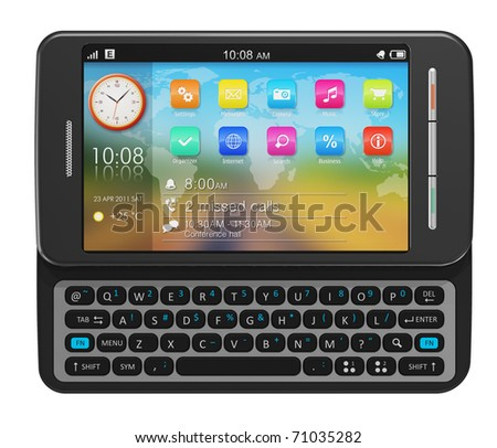 Side slider touchscreen smartphone - stock photo