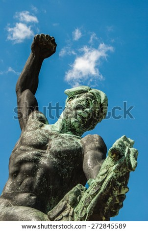 Side statue of the liberty statue on Gellert hill in Budapest in Hungary - stock photo