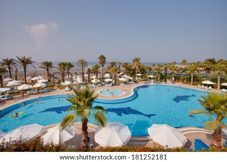 SIDE, TURKEY - JULY 18: view of entertainment complex on July 18, 2013 in Side, Turkey. SIde is popular resort with pools and aquaparks in Turkey with more than 5 mln visitors per year.