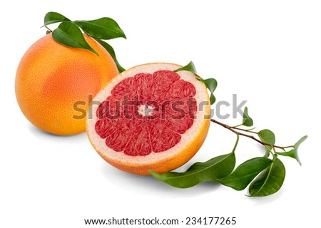 Side view and cross section of a Red Ruby grapefruit on white background. The grapefruit was bred in the 18Th century as a cross between a pomelo (Citrus maxima) and an orange. - stock photo
