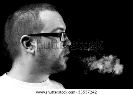 Side view and smoke cloud - stock photo