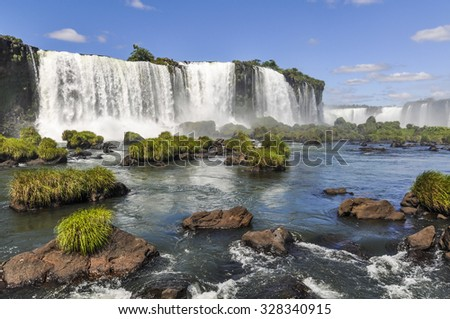 Side view at Iguazu Falls, one of the New Seven Wonders of Nature, Brazil