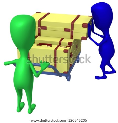 Side view blue puppet take of heavy case - stock photo