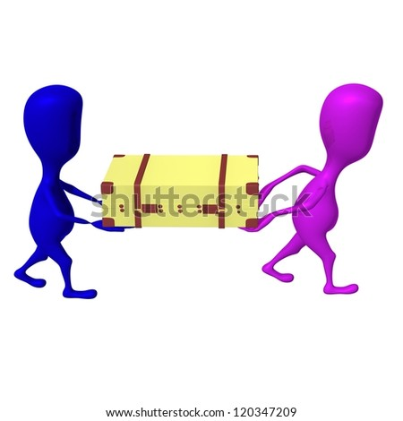 Side view both puppets carry case on hands - stock photo