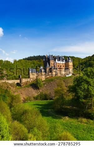 Side view Eltz castle Rhineland-Palatinate Germany - stock photo